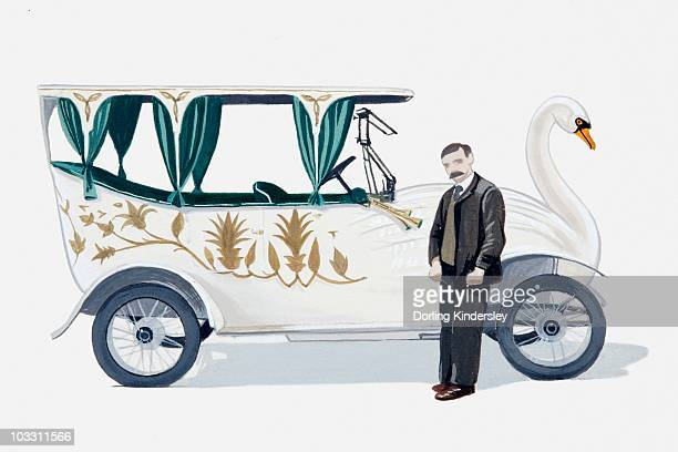 Illustration of 1912 swan car and driver