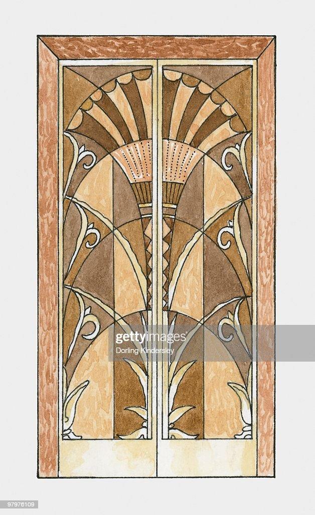 Illustration Of 1920s Art Deco Door : Stock Illustration