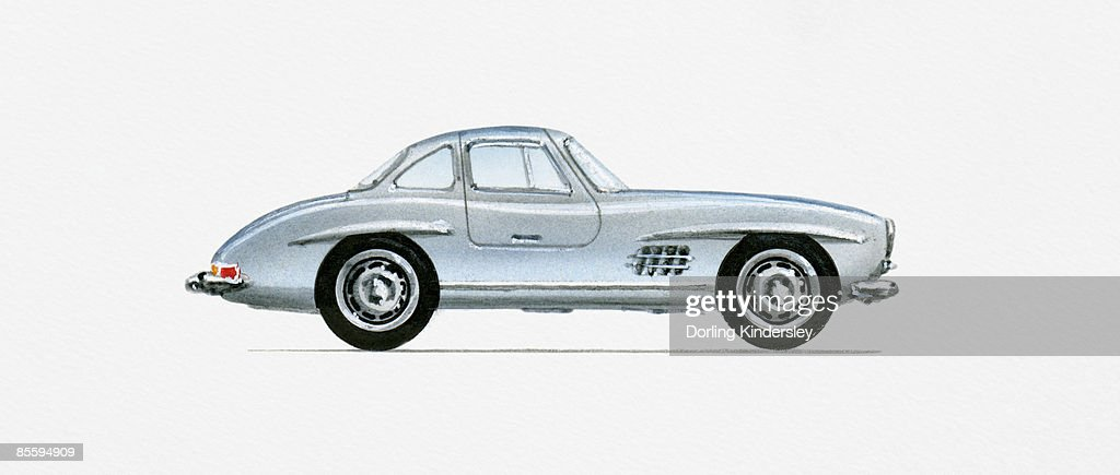 Illustration of 1956 Mercedes-Benz 300SL Gullwing Coupe  : stock illustration