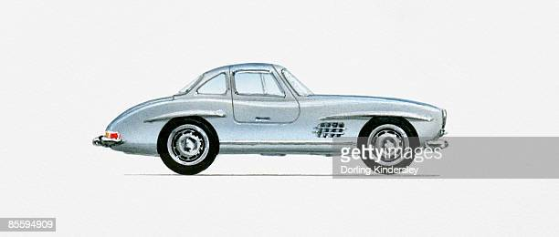 illustration of 1956 mercedes-benz 300sl gullwing coupe  - 1956 stock-grafiken, -clipart, -cartoons und -symbole