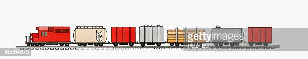 Illustration of 1980s Canadian Pacific Railway EMD SD60 freight train on track