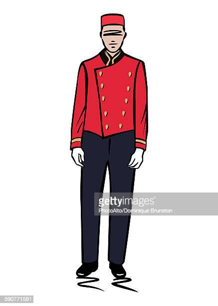 illustration of a bellhop - uniform stock illustrations