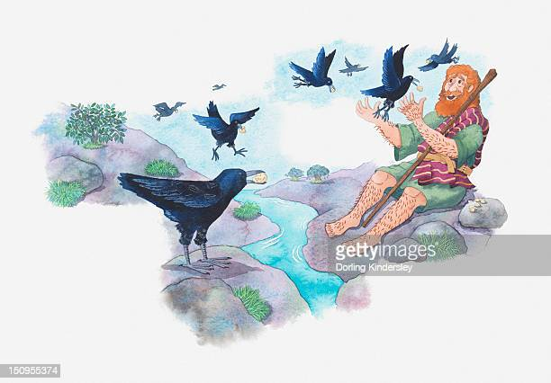 Illustration of a bible scene, 1 Kings 17, God protects Elijah from King Ahab and hides him in a place with plenty of water where he is fed by ravens