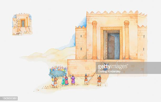 illustration of a bible scene, 1 kings 6, 8, king solomon builds the first temple to god in jerusalem - synagogue stock illustrations