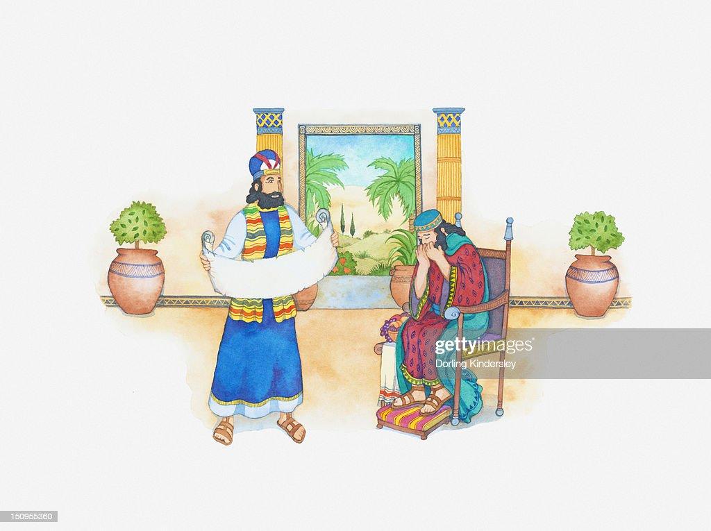 Illustration Of A Bible Scene 2 Kings 22 King Josiah Asks