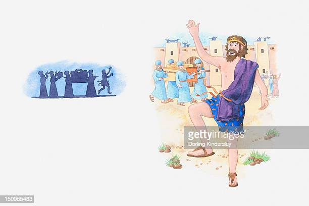 illustration of a bible scene, 2 samuel 6, david becomes king of israel, brings the ark of the covenant to jerusalem and celebrates - ノアの方舟点のイラスト素材/クリップアート素材/マンガ素材/アイコン素材