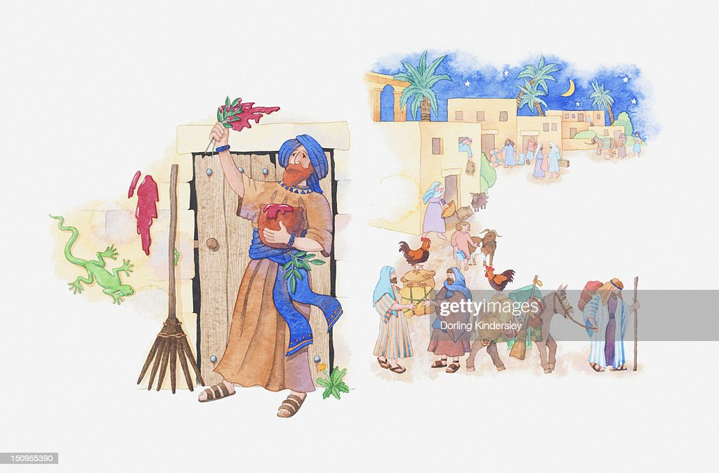 Illustration of a bible scene, Exodus 12, Passover, Moses instructs God's people how to keep safe and the pharaoh agrees to let them leave Egypt : Stock Illustration