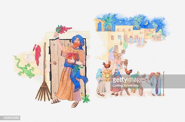 illustration of a bible scene, exodus 12, passover, moses instructs god's people how to keep safe and the pharaoh agrees to let them leave egypt - passover stock illustrations