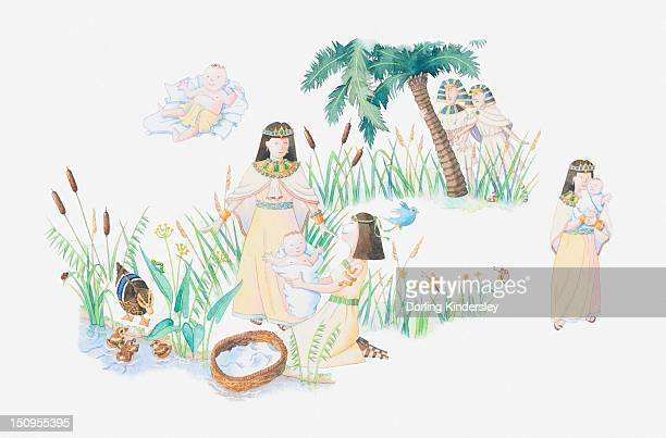 illustration of a bible scene, exodus 2, baby moses, moses is left in a basket on the banks of the nile by his mother, the pharaoh's daughter finds him and he becomes her son - nile river stock illustrations, clip art, cartoons, & icons