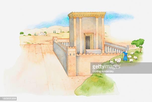 Illustration of a bible scene, Ezra 1-6, King Darius allows the Jews to rebuild the Holy Temple