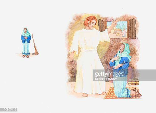 Illustration of a bible scene, Luke 1, Angel Gabriel visits Mary and tells her God wishes her to be mother of his child