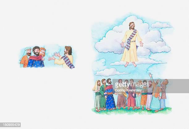 illustrations, cliparts, dessins animés et icônes de illustration of a bible scene, luke 24, acts 1: ascension of jesus - ascension of jesus christ