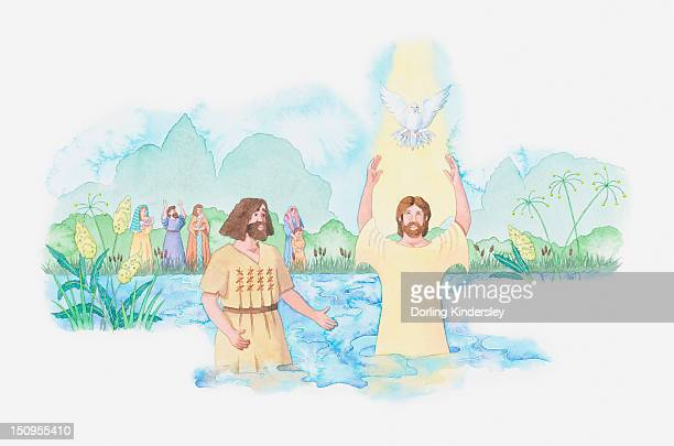 illustration of a bible scene, luke 3, john the baptist baptises jesus in the river jordan, god speaks to him and send down his holy spirit in the form of a dove - baptism stock illustrations