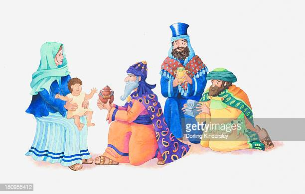 ilustraciones, imágenes clip art, dibujos animados e iconos de stock de illustration of a bible scene, matthew 2, three kings visit newborn jesus and bring gifts of gold, frankincense and myrrh - reyes magos fondo blanco