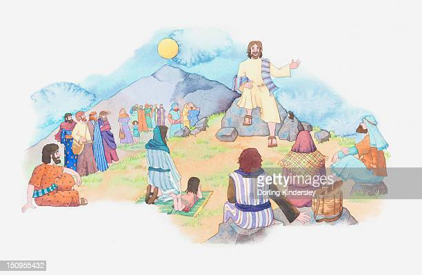 stockillustraties, clipart, cartoons en iconen met illustration of a bible scene, matthew 5, jesus gives a sermon from the summit of a mountain - gelovige