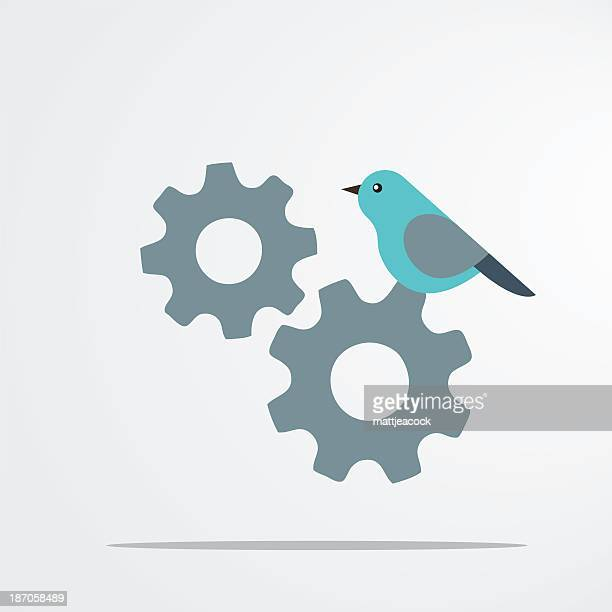 Illustration of a bird perched on cogs and gears.