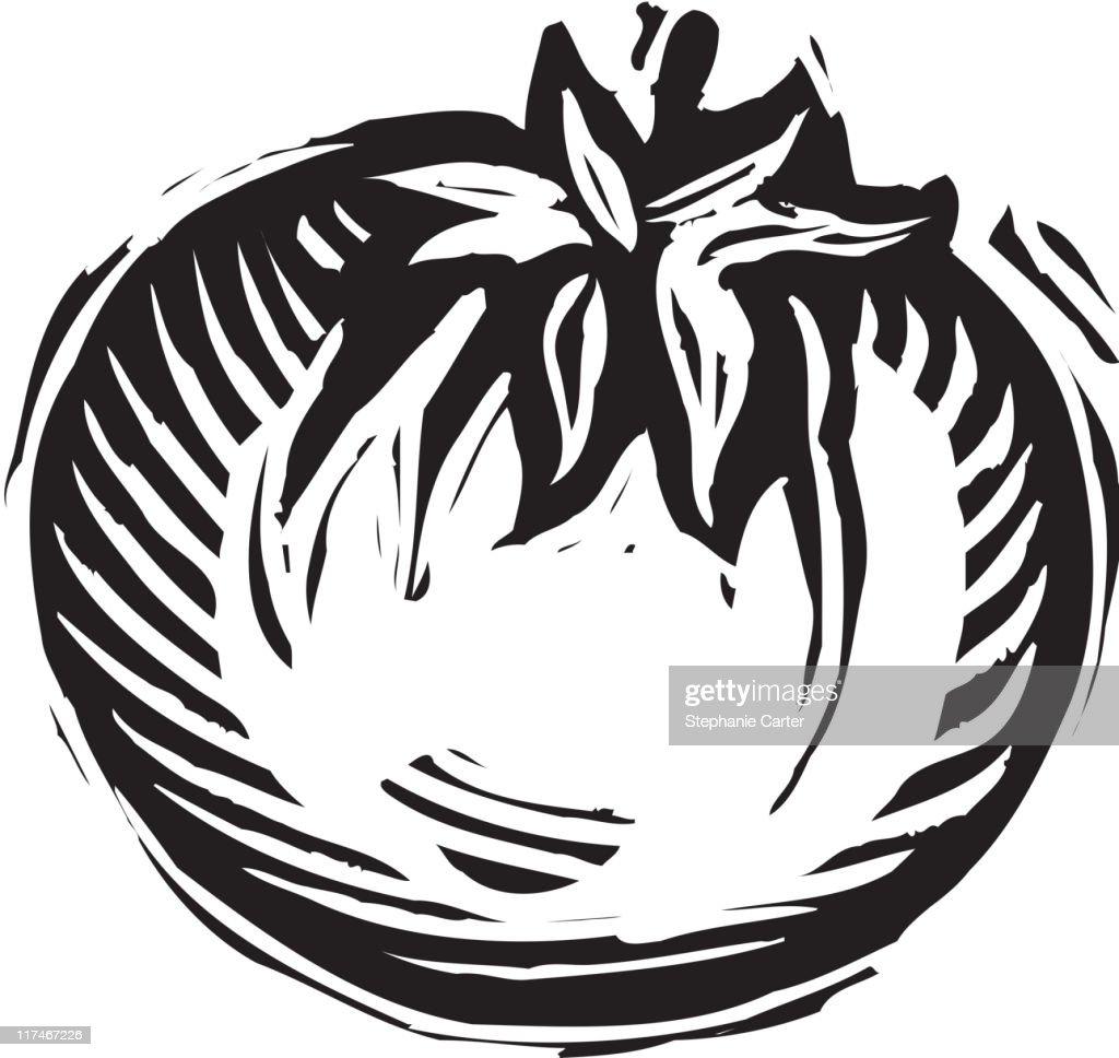 Illustration Of A Black And White Tomato Vectorkunst ...