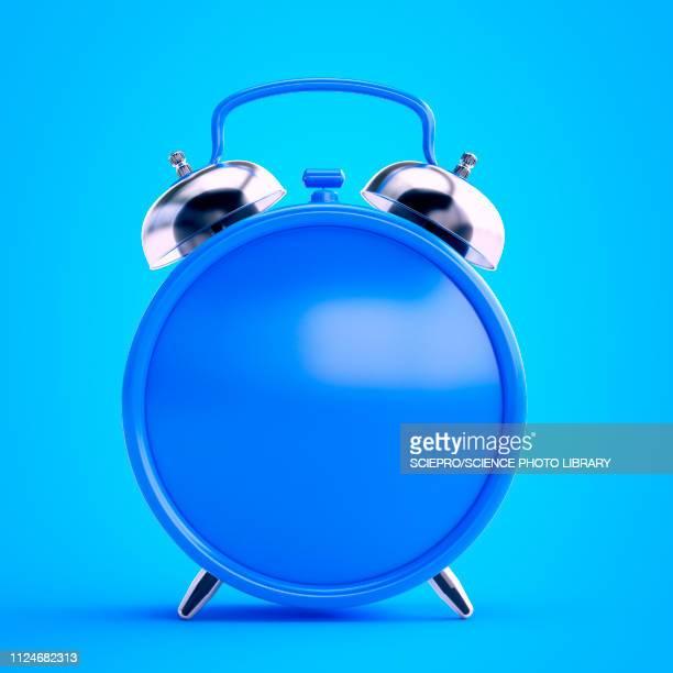 illustration of a blue alarm clock - deadline stock illustrations