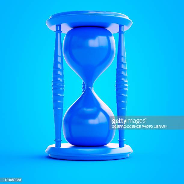 illustration of a blue hourglass - the ageing process stock illustrations