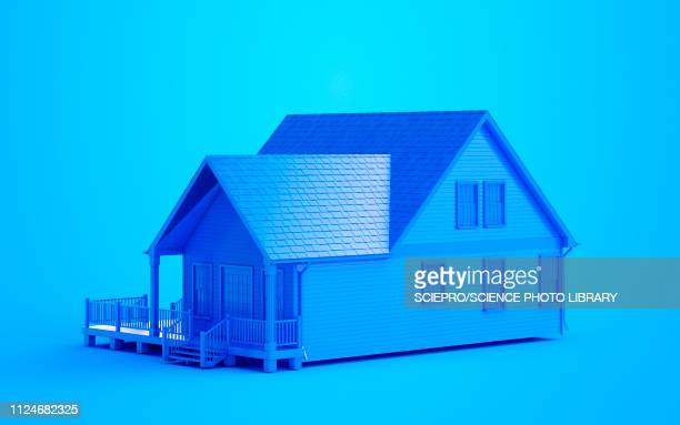 illustration of a blue house - house exterior stock illustrations, clip art, cartoons, & icons