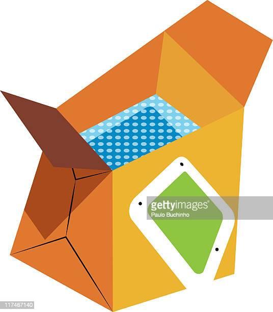 ilustrações de stock, clip art, desenhos animados e ícones de illustration of a box filled with bubble wrap - buchinho