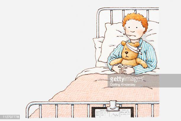 Illustration of a boy in hospital bed, with thermometer in his mouth and his arms around a teddy