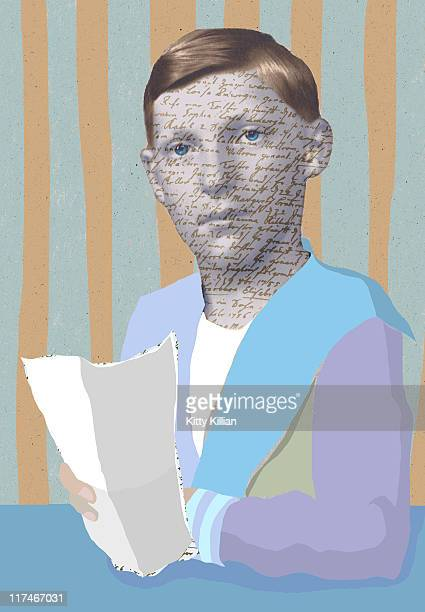illustrations, cliparts, dessins animés et icônes de illustration of a boy who has writing on his face while holding paper - cours d'orthographe