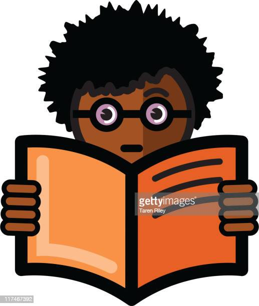 Illustration of a boy with glasses reading
