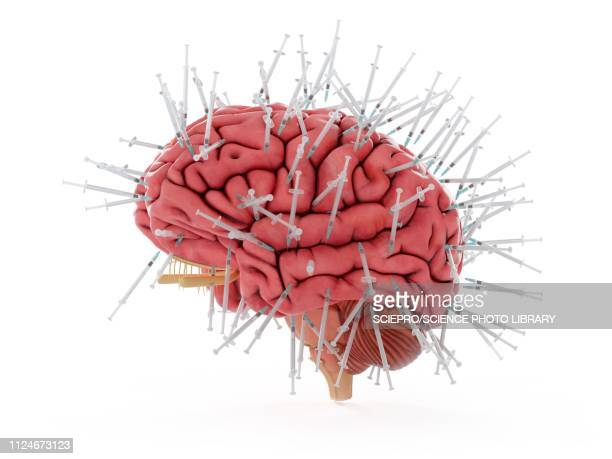 illustration of a brain and syringes - recreational drug stock illustrations, clip art, cartoons, & icons