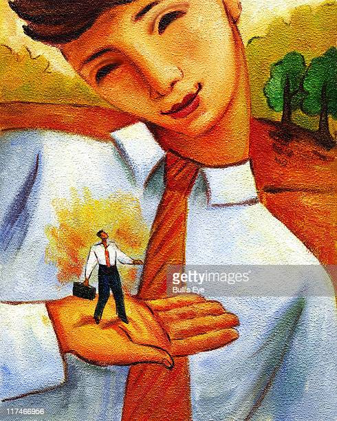 Illustration of a businessman holding a mini businessman in his hands