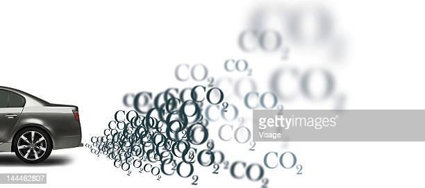 illustration of a car emitting co2 - emitting stock illustrations, clip art, cartoons, & icons