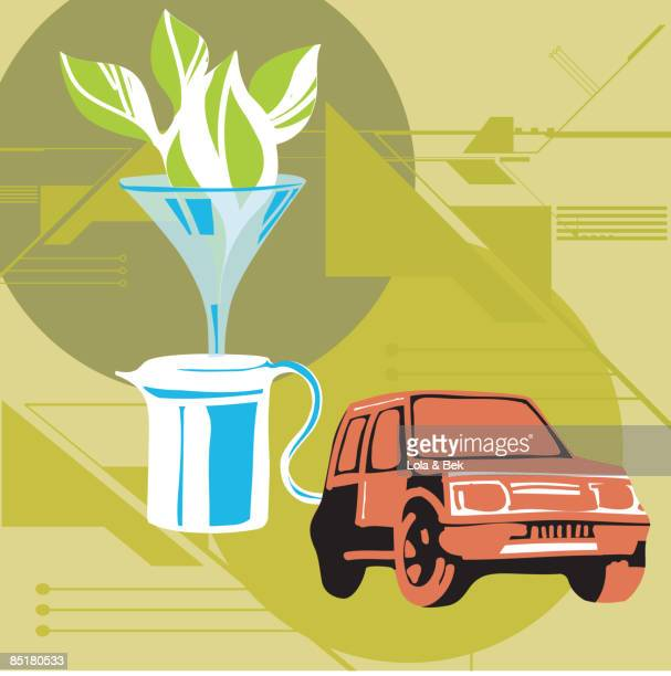 illustration of a car filling up with biofuel - biodiesel stock illustrations, clip art, cartoons, & icons