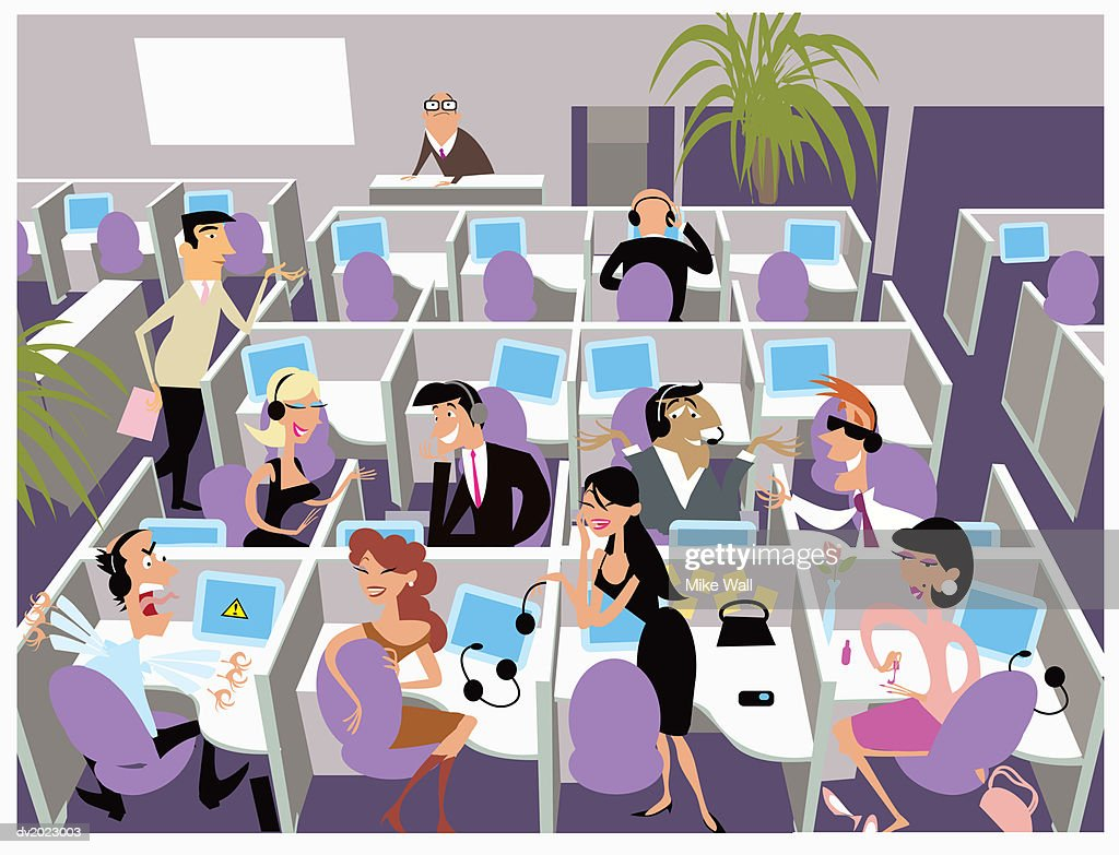 Illustration of a Chaotic Office : Stock Illustration