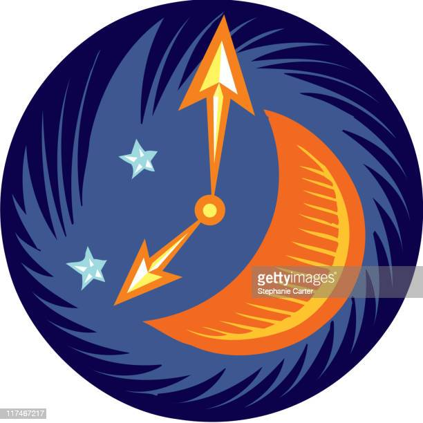 Illustration of a clock with a moon on it