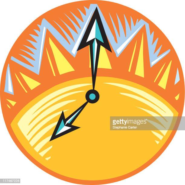 Illustration of a clock with a sun on it