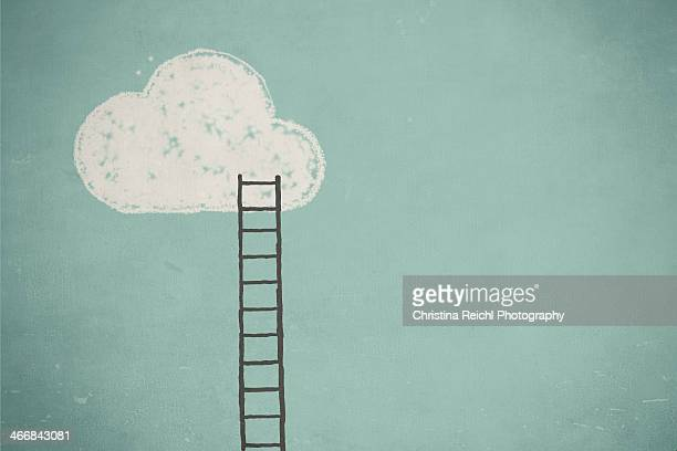 illustrations, cliparts, dessins animés et icônes de illustration of a cloud and a ladder - aspiration