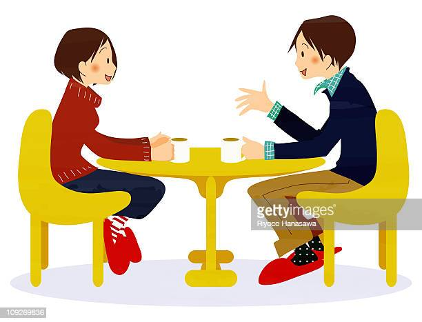 Illustration of a couple having coffee