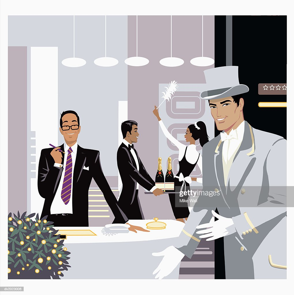 Illustration of a Doorman and Hotel Receptionist Greeting, Cleaner and waiter in Background : Stock Illustration
