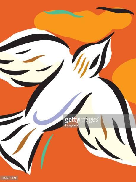 Illustration of a dove on an orange background