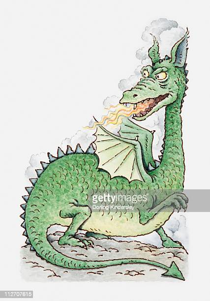 Illustration of a dragon spitting fire