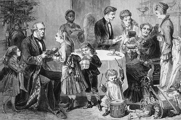 Illustration of a family gathered around a table, looking...