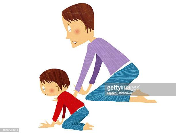 illustration of a father and child sitting on the floor - hair color stock illustrations, clip art, cartoons, & icons