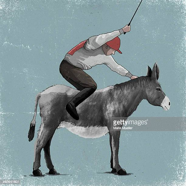 illustration of a frustrated jockey on a donkey - stubborn stock illustrations, clip art, cartoons, & icons