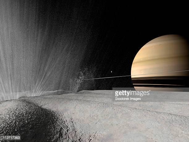 Illustration of a geyser erupting on the surface of Enceladus.