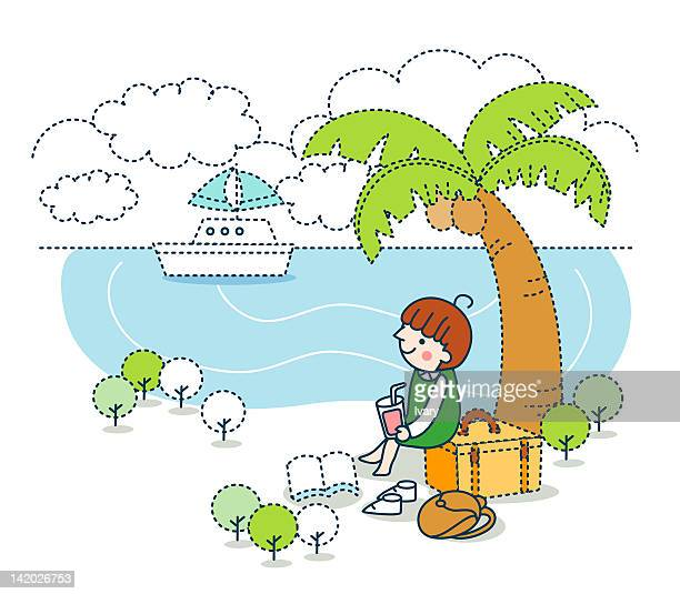 illustration of a girl sitting under a palm tree with ship in sea - one girl only stock illustrations, clip art, cartoons, & icons