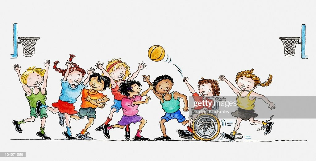 Illustration of a group of children including a child in a wheelchair playing basketball together : Stock Illustration