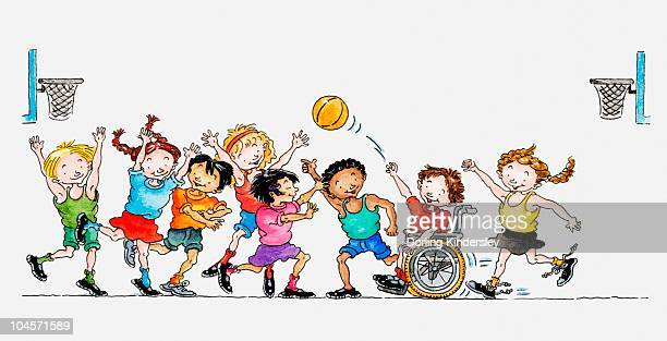 illustration of a group of children including a child in a wheelchair playing basketball together - disability stock illustrations, clip art, cartoons, & icons