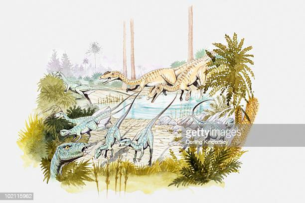 Illustration of a group of Heterodontosauri (ornithopod dinosaurs) fleeing from two Ceratosaurs (theropod dinosaurs) at a watering hole, Jurassic period