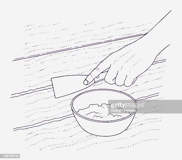 illustration of a hand applying home made papier mache filler and wallpaper paste to gap between floorboards using a small scraper - floorboard stock illustrations, clip art, cartoons, & icons