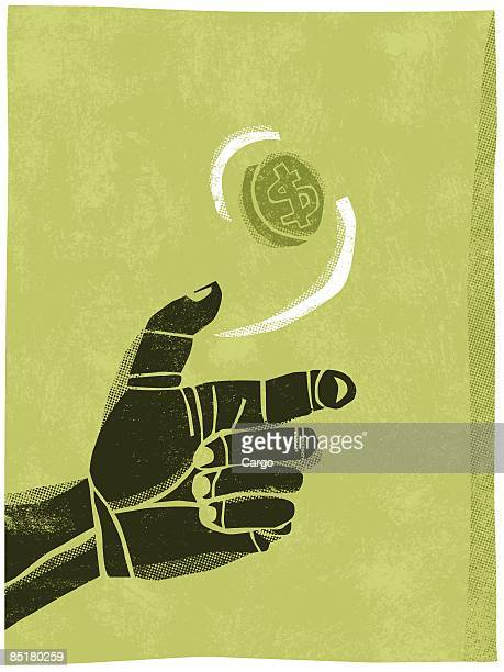 illustration of a hand flipping a coin in the air - flipping a coin stock illustrations, clip art, cartoons, & icons